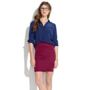 Madewell Downtown Skirt - Striped Navy & Red